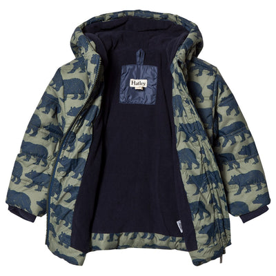 Black Bears Fleece Lined Puffer Coat - Little Marshans