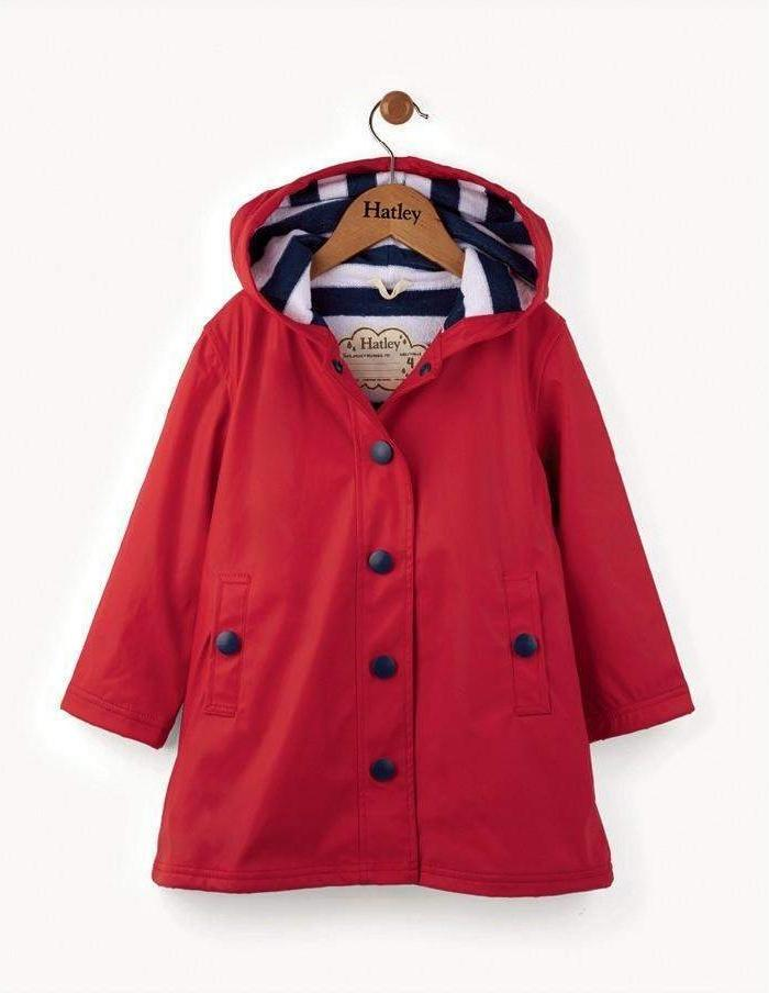 Little Marshans:Red With Navy Stripes Splash Jacket: