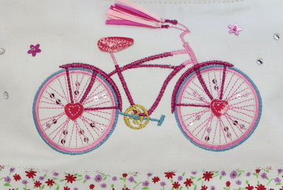 Embroider Applique Bicycle Fabric Mini Handbag 23x15x5cm - Little Marshans