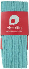 Little Marshans:Turquoise Cable Knit Tights: