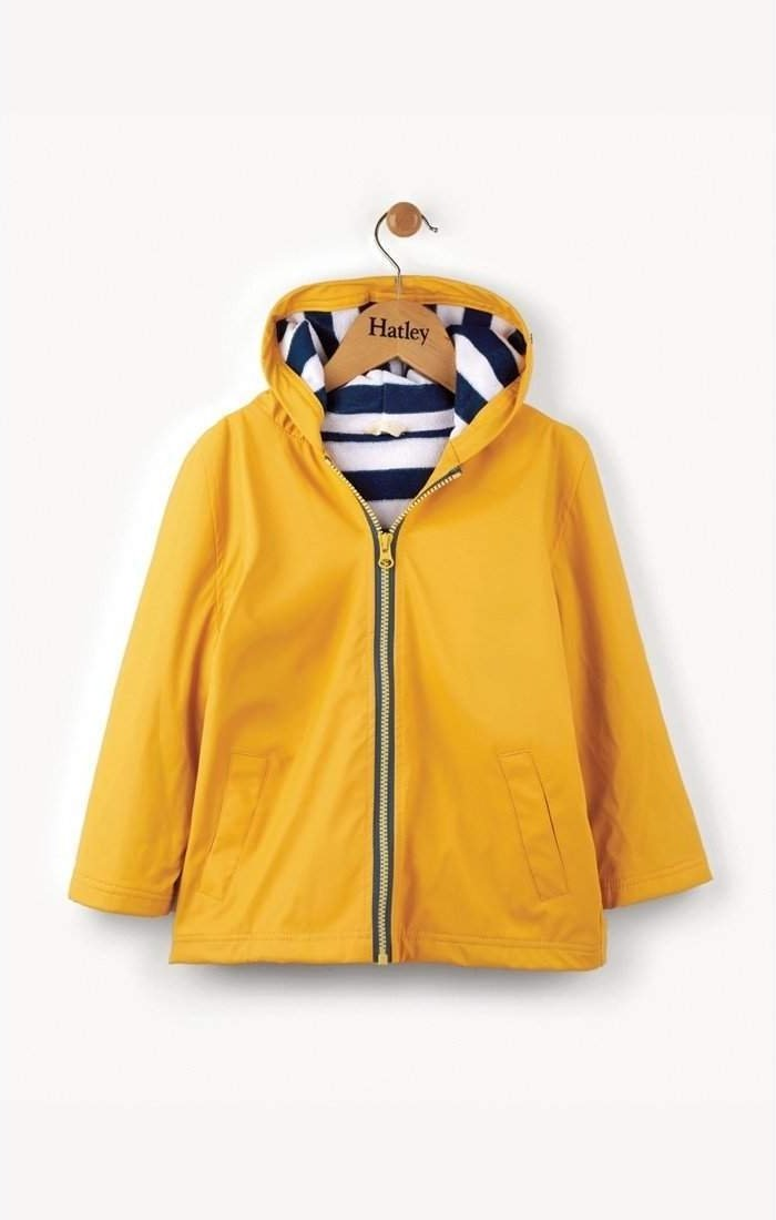 Little Marshans:Yellow With Navy Stripe Lining Splash Jacket: