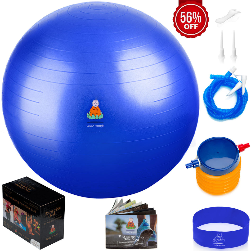 Exercise Ball Balance Anti-Burst Balls | Best Professional Stability Set – Yoga Large Thick Fitness Ball With Pump & Accessories, Extra Pins For Valve, Premium Elastic Loop &Hard Cover Workout Guide