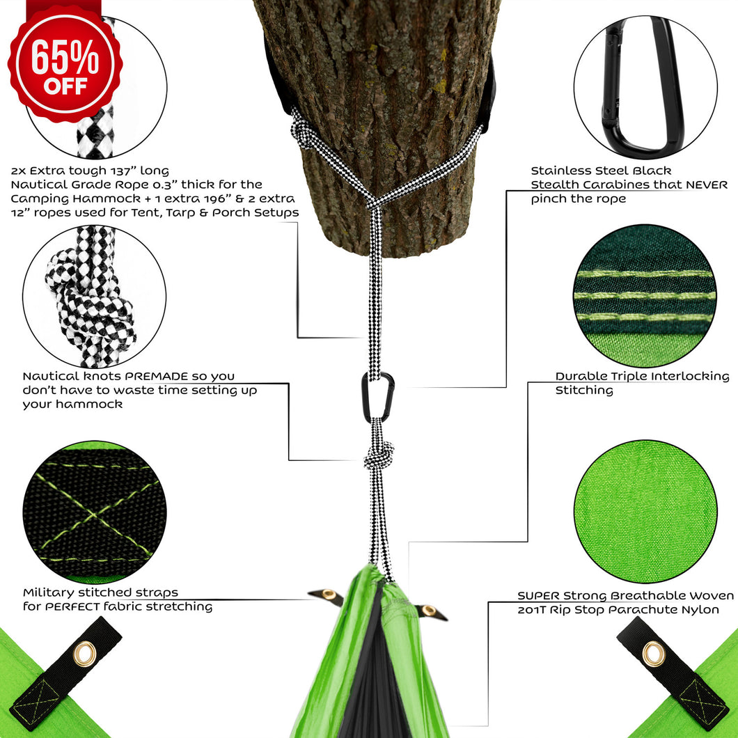 green double camping hammock with straps  u2013 unique 4in1    plete fast      rh   lazy monk