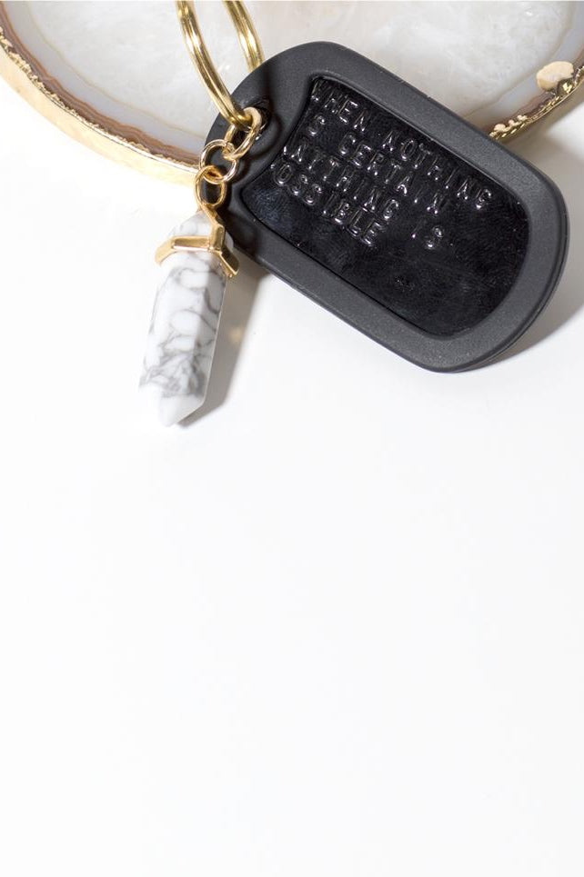 White Turquoise Crystal Keychain - 444 Evergreen