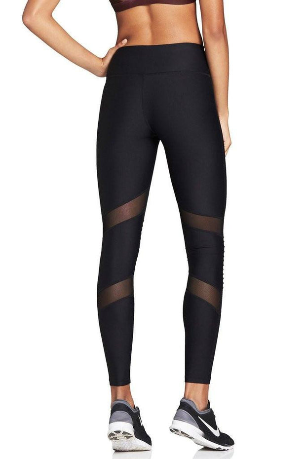 Black Moto Mesh Legging - 444 Evergreen