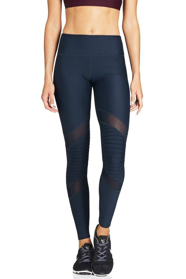 Navy Moto Mesh Legging - 444 Evergreen