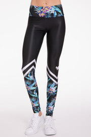 Sporty Neon Hibiscus Legging - 444 Evergreen