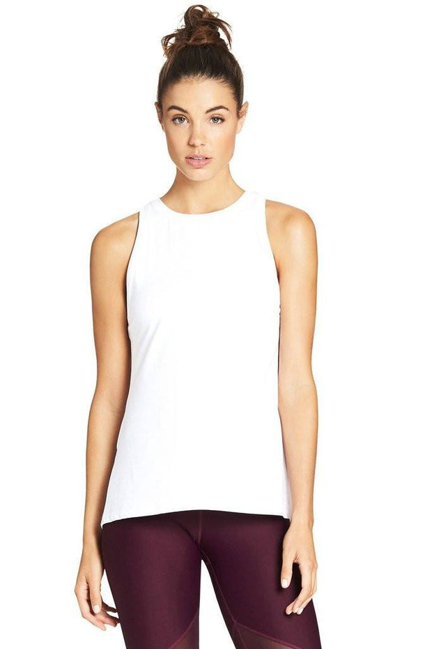 Tie Up Gather Tank - White - 444 Evergreen