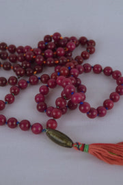 Jasper Mala with Orange - 444 Evergreen