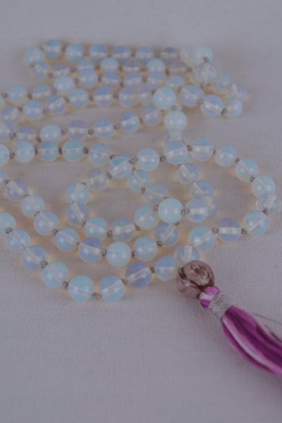 Opal Lite Mala with Purple - 444 Evergreen