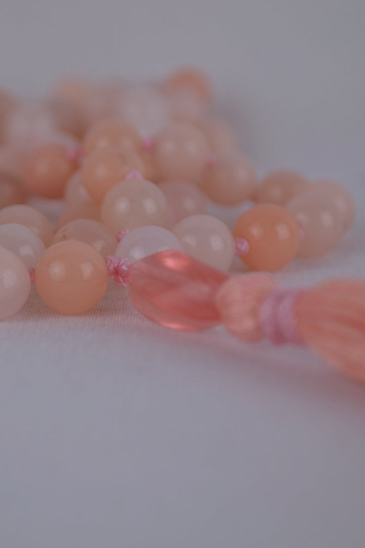 Pink Aventurine Mala with Pink - 444 Evergreen