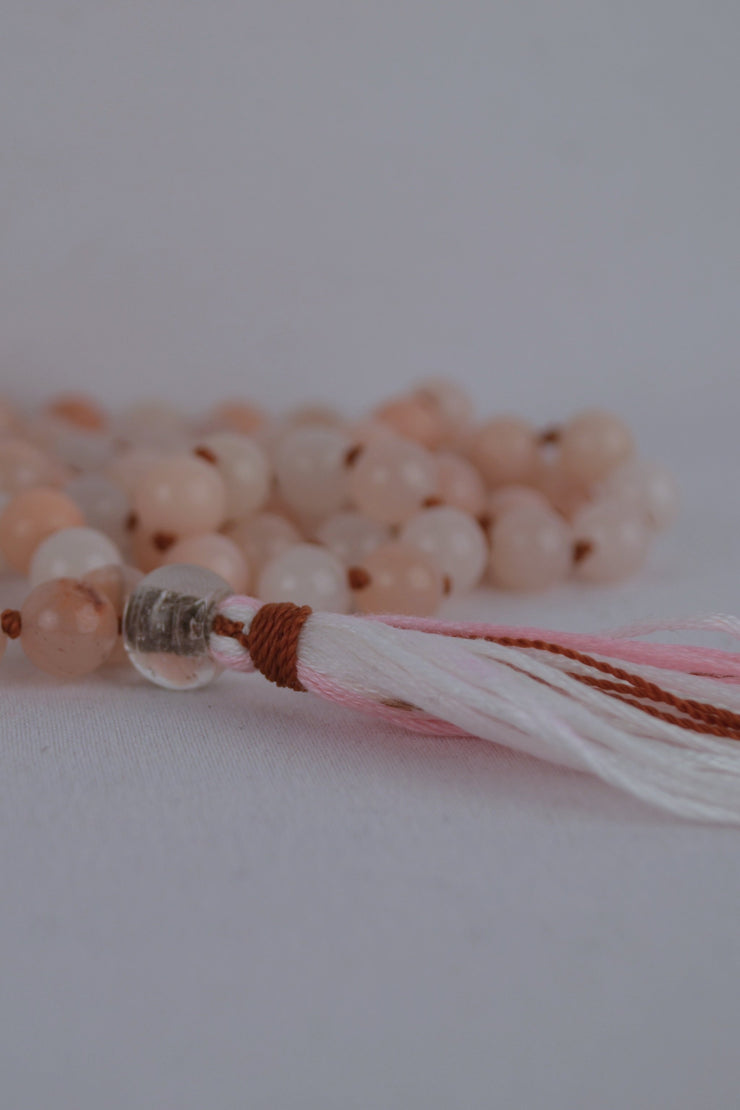Pink Aventurine Mala with White - 444 Evergreen