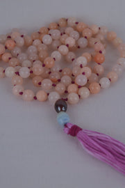 Pink Aventurine Mala with Purple - 444 Evergreen