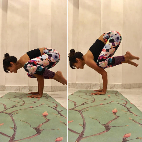 bakasana on Kosha Yoga mat