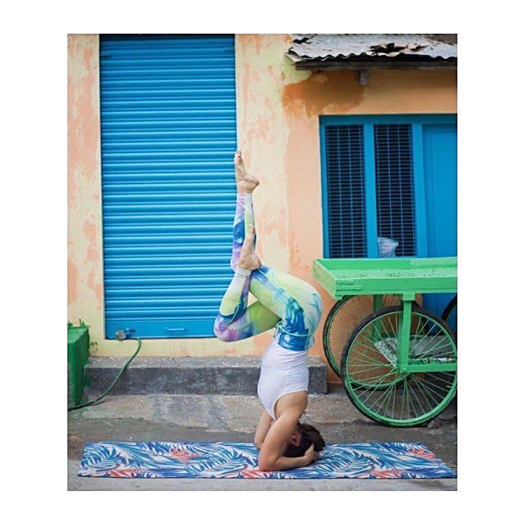 Lily on Kosha Yoga Co. Blue Foliage Mat