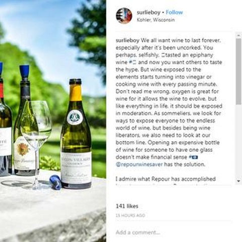 Anthony Garcia Sommelier endorses Repour in instagram