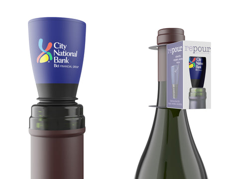 repour custom branded wine preservation stopper in color on indigo blue wine