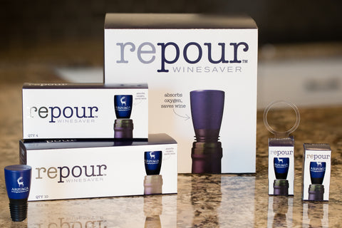 Repour custom-branded wine savers are available in all sizes