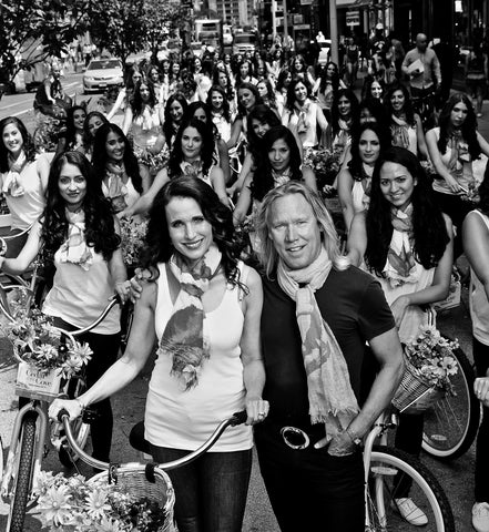 "With Andie MacDowell and the 65 model ""Bike Brigade"" ready to take to the streets of Manhattan to promote the hit series ""Cedar Cove"". June 2014."