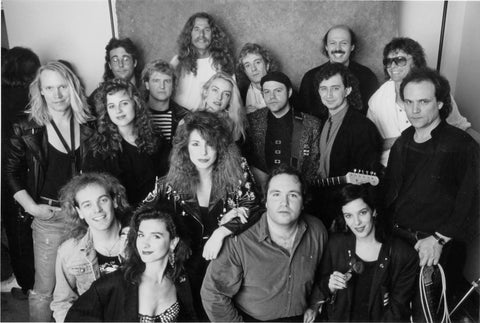 Backstage at the All-Star Band at the Music Express Awards. Left-Right: Alan Frew, Glass Tiger; Mike Levine, Triumph; Lee Aaron; Sass Jordan; Kenny Maclean, Platinum Blonde; Dominic Troiano; Gil Moore, Triumph; Ian Thomas. February 1989.