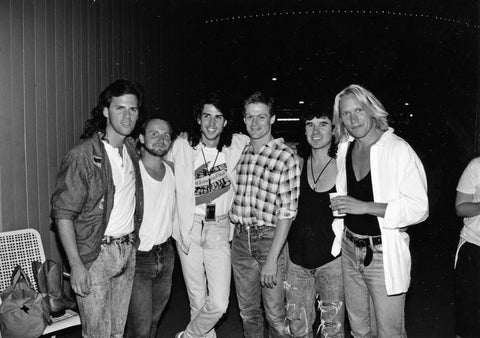 Backstage, Pacific Coliseum, Vancouver. Left-Right: Andrew Johns, Randall Stoll, Randy Gould, Bryan Adams, David Forbes. 1988.