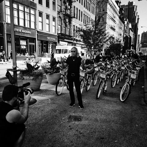 "Early morning in Union Square, New York City. A moment to reflect before the mayhem, as 65 Andie MacDowell ""look-alike"" models rode through the streets of Manhattan. June 2014."
