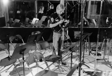 Setting up for our big day of recording half of the Calgary Philharmonic for the Charlene Prickett album at Thunder Road. Calgary 1983.