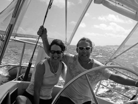 With Jane, sailing in the Adriatic. The island of Hvar, Croatia in the background. August 2010.