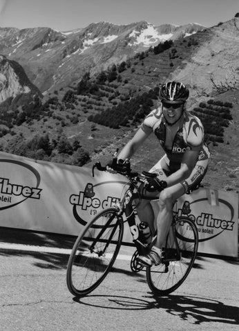 Back on my new Cervello time trial bike climbing Alpe D'hurez. June 2008.