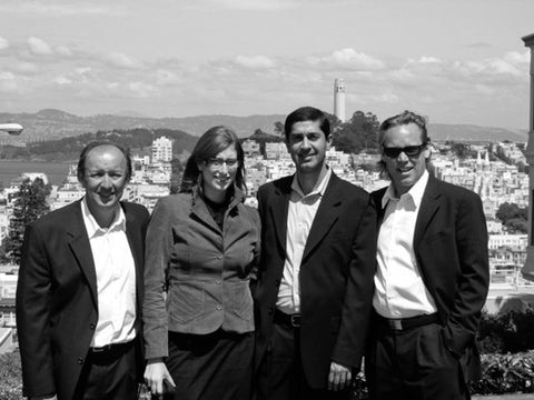 At the top of Lombard St. in San Francisco immediately following our pitch to Comm Ventures to fund Hip Digital. May 2006. Left-Right: Peter Diemer, Vered Koren, Karim Mitha.
