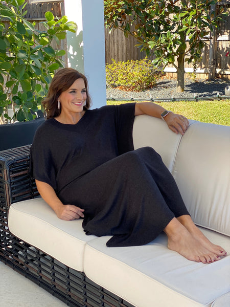 black sweater caftan