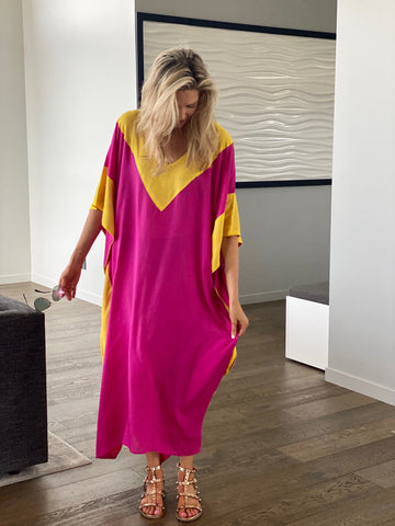 pink and yellow long caftan