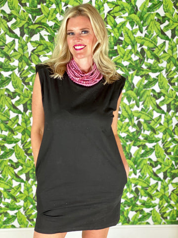 Black Piper Dress with beaded necklace
