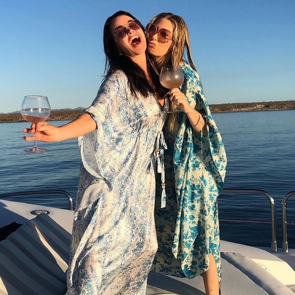 Kyle Richards wearing a caftan