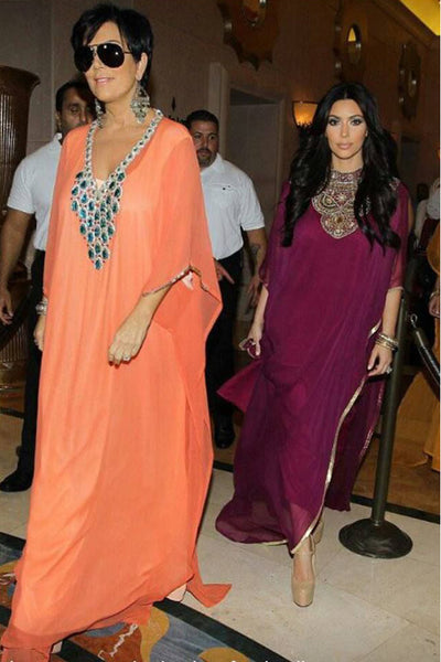 Kim Kardashian and Kris Jennar in caftans
