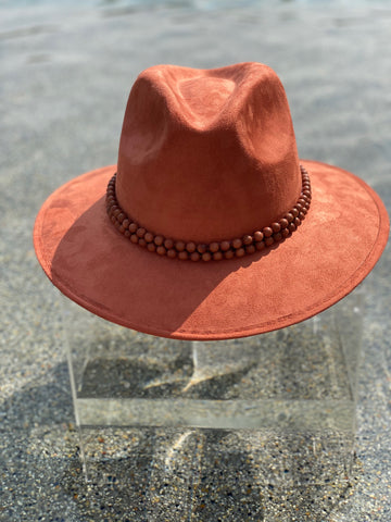 Suede Beaded Hat - Rust