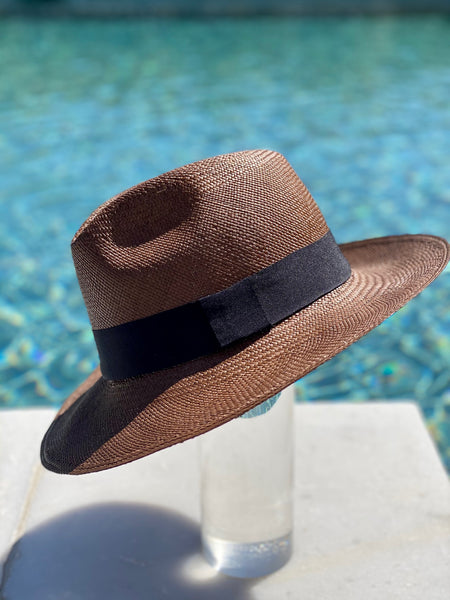 Brown and Black Panama Hat