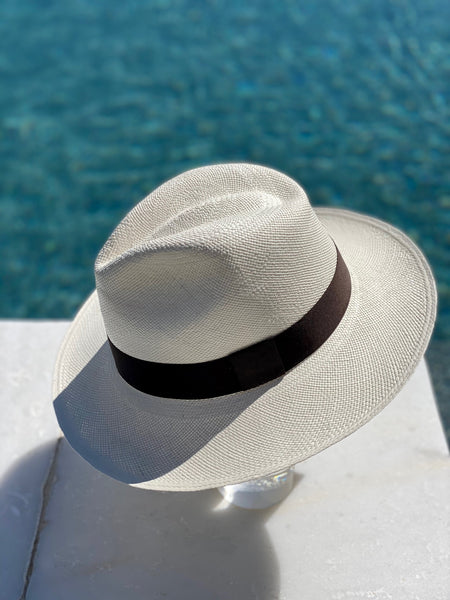 White and Dark Brown Panama Hat