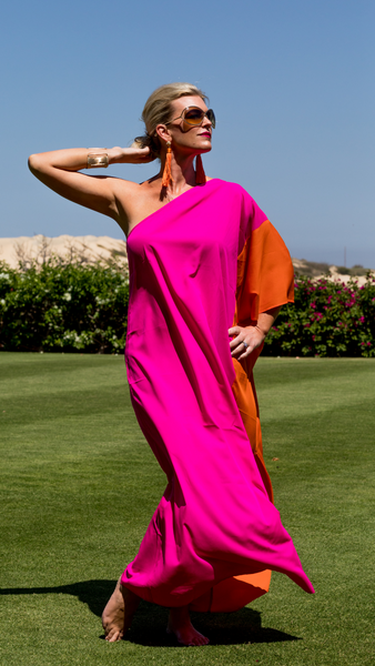 Kari One shoulder caftan dress