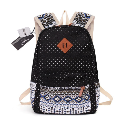 Printed Canvas Backpack for Women - 3 PCS/Set
