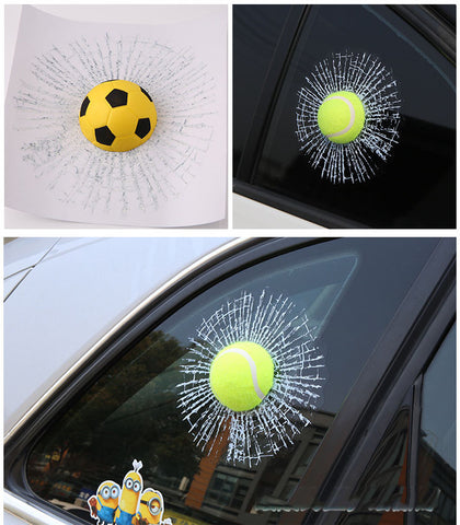 Auto Car styling 3D Car Sticker Football Basketball Tennis Baseball Hit