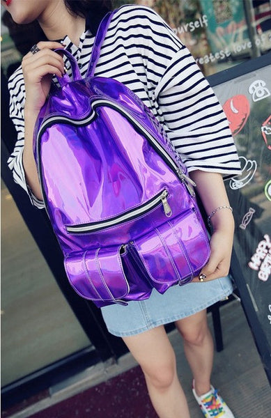 Fashion Unisex Silver Holographic Laser backpack