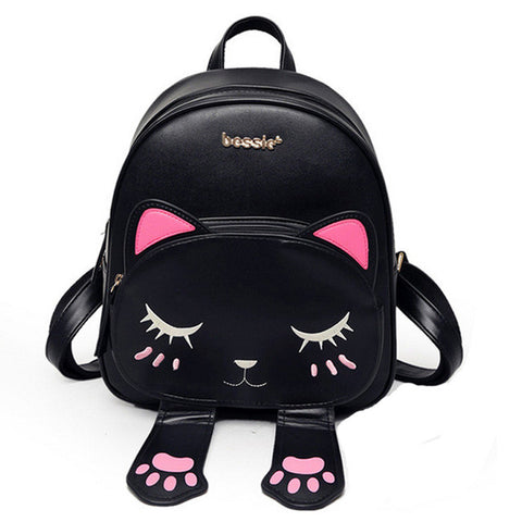 Lovely Cat Leather Backpacks for Women