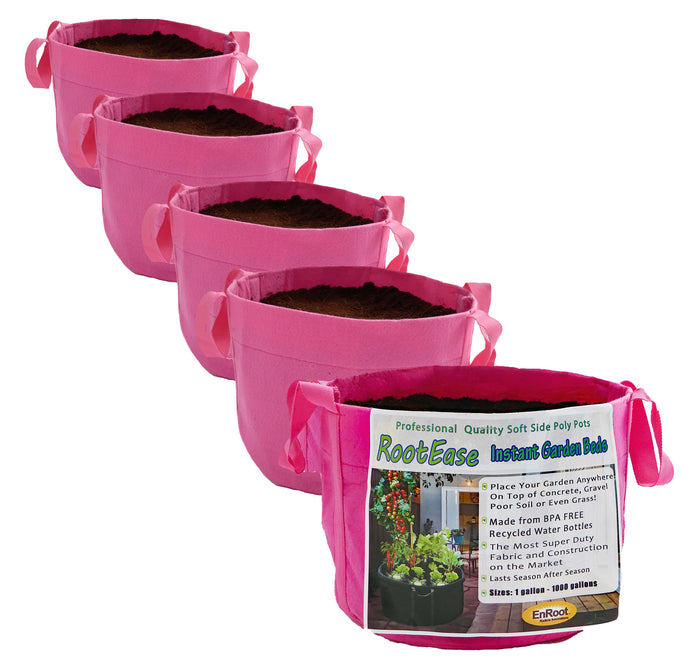 3 Gallon (MORE COLORS AVAILABLE) - 5 Pack Garden Planting Aeration Fabric Pot, Heavy Duty Durable Grow Bags / Planter, Raised Bed Gardening, Best Air-Pruning Root Treatment Eco-Friendly Grow Bags with Handles