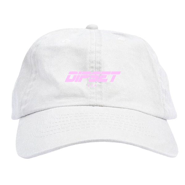 DIPSET LOGO DAD HAT (WHITE/PINK)