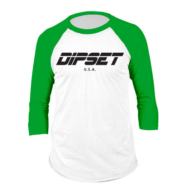 DIPSET LOGO RAGLAN (WHITE/KELLY GREEN)