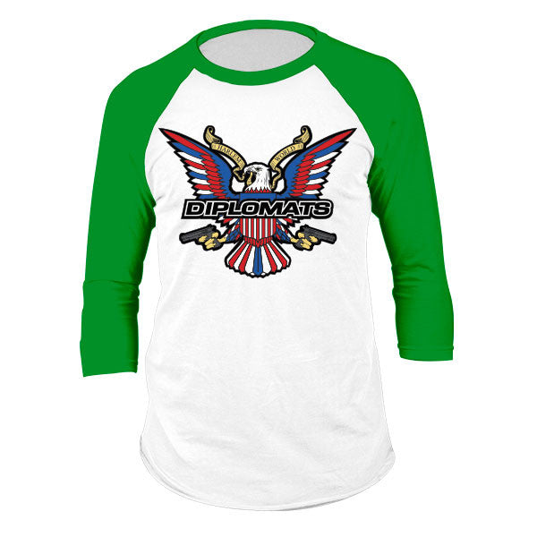 DIPSET USA EAGLE LOGO RAGLAN (WHITE/KELLY GREEN)