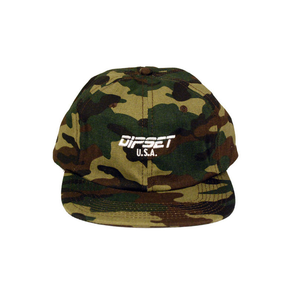 DIPSET USA LOGO UNSTRUCTURED 6 PANELCAMO HAT