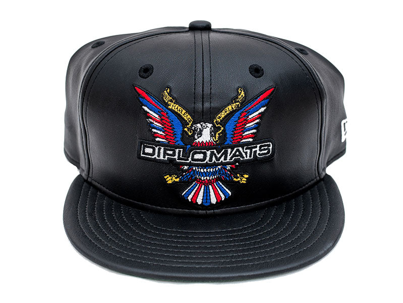 DIPSET EAGLE LOGO NEW ERA 5950 SNAPBACK HAT (BLACK LEATHER)  22bfa931fca