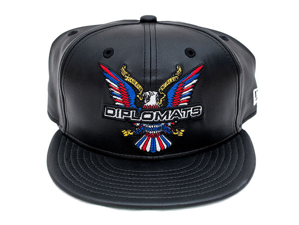 DIPSET EAGLE LOGO NEW ERA 5950 SNAPBACK HAT (BLACK LEATHER)